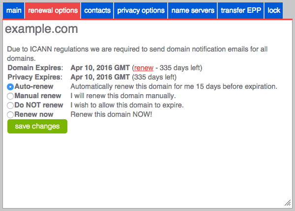 The domain renewal options.