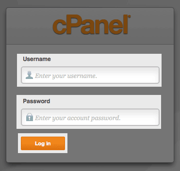 The cPanel login