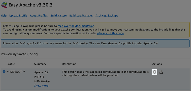 The Easy Apache Profile Page.
