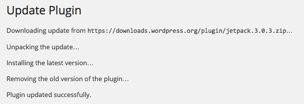 The plugin update progress page.