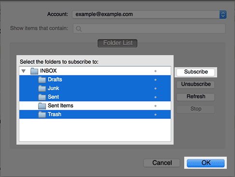 Subscribing to folders in thunderbird.