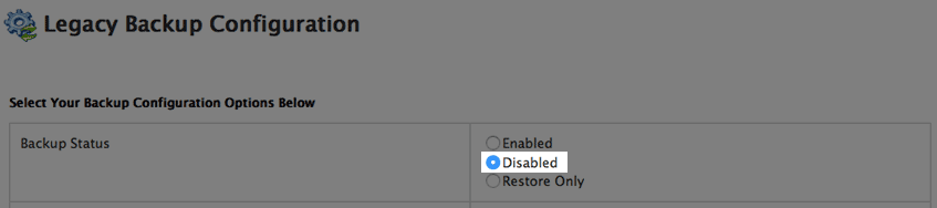 Disabling Legacy Backups.