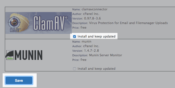 The Clam AV plugin install page.