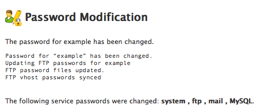 Successful password change.